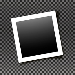 Retro realistic square photo frame with figured edges isolated on transparent background. Vector photo mockup. Old empty realistic photo frame with transparent shadow