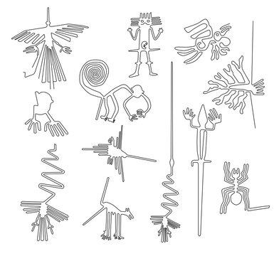 Nazca lines creatures from Nazca desert in Peru