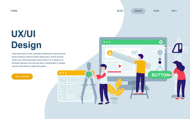 Modern flat web page design template of UX, UI Design decorated people character for website and mobile website development. Flat landing page template. Vector illustration.