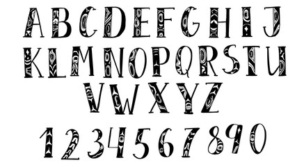 Vector hand drawn typeface