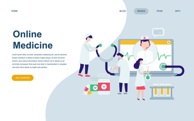 Modern flat web page design template of Medicine and Healthcare decorated people character for website and mobile website development. Flat landing page template. Vector illustration.