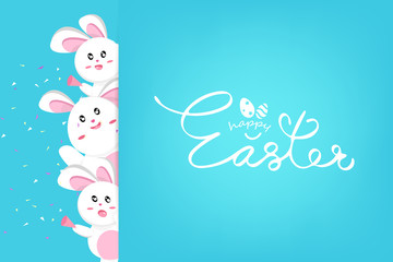 Happy Easter, cute rabbit confetti celebrate party, Kawaii style, animals cartoon characters collection seasonal holiday background vector illustration