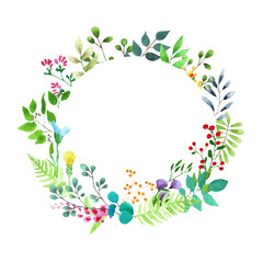 Vector watercolor illustration. Beautiful wreath. Colorful greeting card with leaves and branches. Spring flowers for invitation, wedding or postcard.