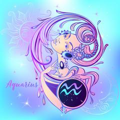 Zodiac sign Aquarius a beautiful girl. Horoscope. Astrology.  Vector