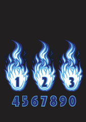 numbers flame drawing