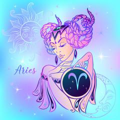 Zodiac sign Aries a beautiful girl. Horoscope. Astrology. Vector
