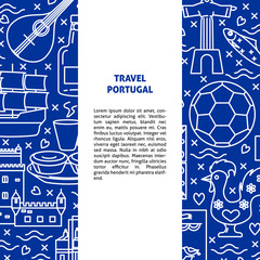 Travel Portugal concept banner template in line style
