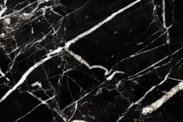 White pattern natural structure of black marble (Marquina) texture for interior or product design. Abstract dark background.