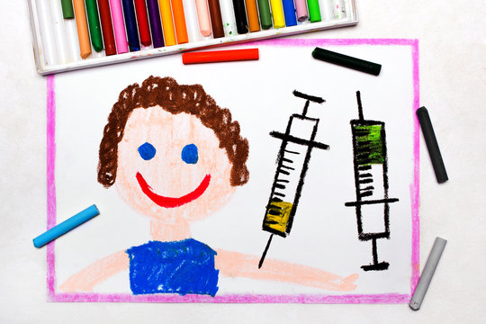 Colorful drawing: Child vaccination. Smiling boy and syringe. Protective vaccination