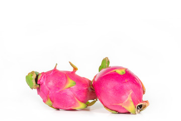 Two dragon fruit isolated on white background.