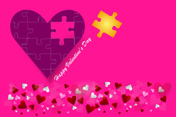 Valentine's Day vector with puzzle pices pink heart. All is on a trendy pink background with a place for your text.