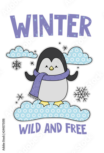 bbf034d2e Cute penguin on a cloud cartoon hand drawn vector illustration. Can be used  for t