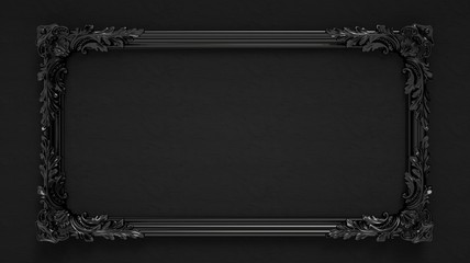 Bright black ornamental vintage frame