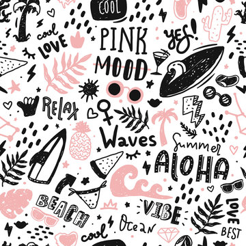 Summer seamless pattern with doodle icons and lettering. Modern wallpaper decoration with surf board, sun, watermelon , waves
