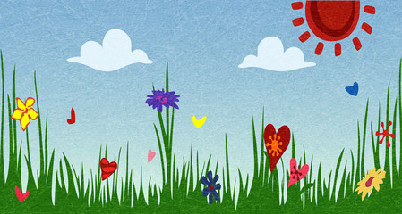 Spring Sunny meadow. Green grass with flowers against the sky. The idyllic cartoonish picture of a warm summer day. Flat style, vector illustration with noise and texture, marble textured background.
