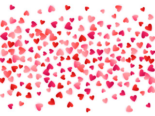 Red flying hearts bright love passion vector background.