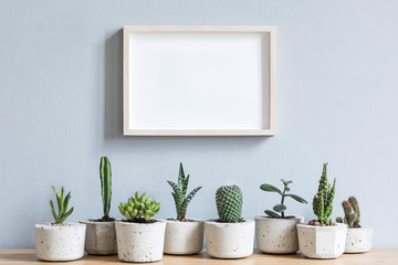 Minimalistic home interior with mock up photo frame on the brown wooden table with composition of cacti and succulents  in stylish cement pots. Grey walls. Stylish concept of home garden.