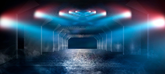 Abstract blue background with neon light, tunnel, corridor, red laser beams, smoke, rays, lines. Product showcase spotlight background. Clean photographer studio.