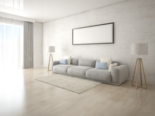 Mock up bright living room with stylish comfortable sofa and hipster backdrop.