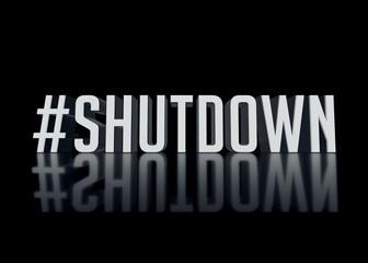 Hashtag Shutdown text 3D render