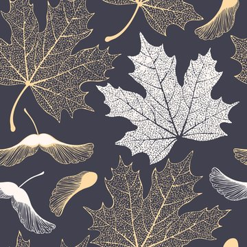 Skeleton maple leaves and seeds seamless pattern