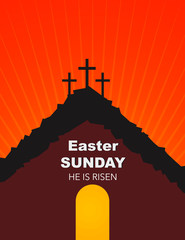Easter Sunday, He is risen. Greetings, invite vector card. Calvary sunrise with three crosses, open lighting empty cave and stone. Religious symbol.