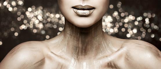 Fashion Lips Beauty Art Makeup, Woman Metallic Lipstick Make Up, Glittering Sparkling Color