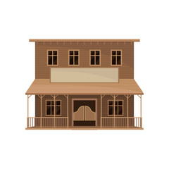 Two-storey saloon with swinging doors, big porch and blank signboard. Old wooden house. Flat vector icon