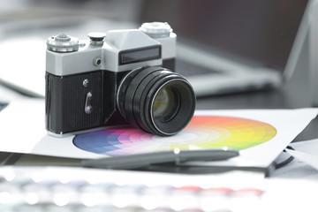 close up.Old retro film camera 35mm soviet