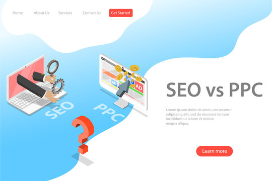 Isometric flat vector landing page template of SEO vs PPC, pay per click, search engine optimization, digital marketing strategies.