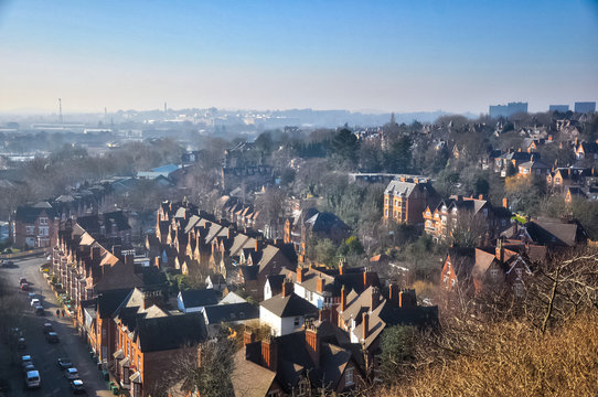 Nottingham landscape. Cityscape of industrial Nottingham. City park of Nottingham.
