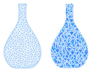 Mesh vector glass jug with flat mosaic icon isolated on a white background. Abstract lines, triangles, and points forms glass jug icons. Wire carcass flat triangular linear mesh in vector format,