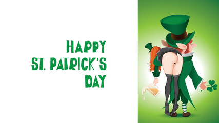 Cartoon of a Happy St. Patrick's Day with a textual signboard.Leprechaun carries a drunken girl over her shoulder.