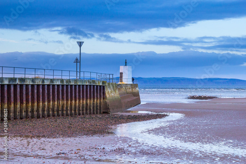 Seaside town of Nairn, Scotland  The concrete pier forms the