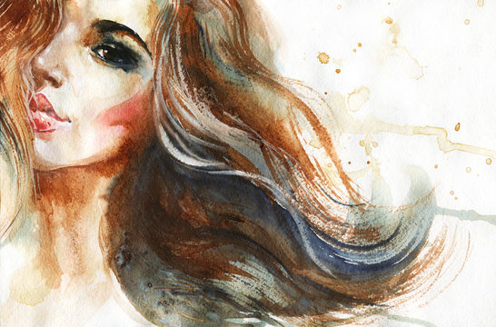 Watercolor beauty young woman. Hand drawn portrait of girl. Painting fashion illustration on white background