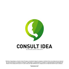 Modern Business Consulting Agency logo design template. Talk People Head logo concept