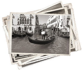 Stack of old vintage photos in Venice Italy