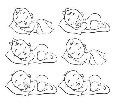 Newborn baby sketch. Hand drawn sleeping babies isolated on white, happy human girl and boy toddlers, drawing kids vector illustration