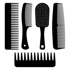 Set of different hair combs. Black silhouettes. Vector illustration