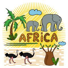 African animals and plants. Safari animals pattern