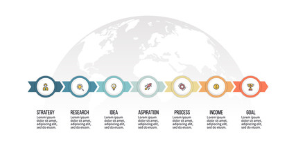 Business infographics. Timeline with 7 steps, options, circles. Vector template.