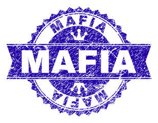 MAFIA rosette stamp seal watermark with distress texture. Designed with round rosette, ribbon and small crowns. Blue vector rubber watermark of MAFIA caption with corroded style.