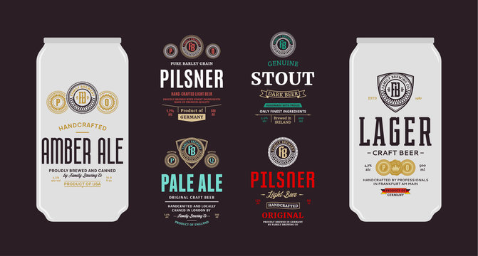 Vector beer labels and can mockups