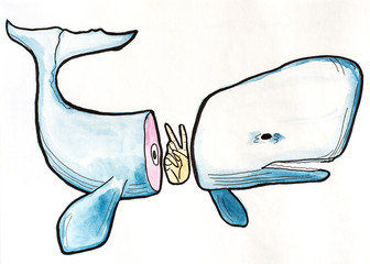 Watercolor illustration of blue cutted whale and peace hand. Surreal concept on white background