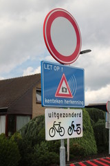 Signs on the street at cut protected by camera which regonize license plate in Zuideinde in Zevenhuizen