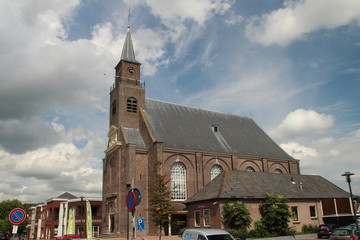 Reformed church of the Hervormde Gemeente in the bible belt village in Moerkapelle in the Netherlands