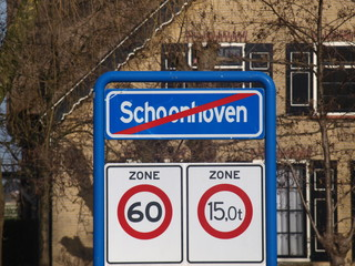Sign end of urban area of schoonhoven which is part of the municipality Krimpenerwaard.