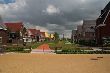 Construction of the new residential district Jonge Veenen with also a new school in Moerkapelle in the Netherlands with playground