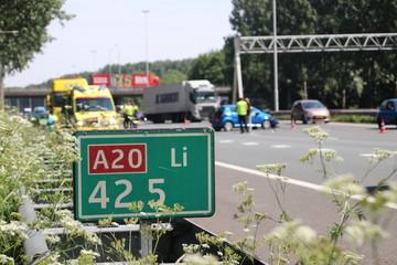 car crash on Motorway A20 at Nieuwerkerk aan den IJssel in the Netherlands