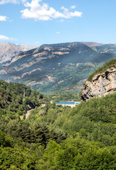 Mountains of the Pyrenees in the Benasque valley in Spain on a sunny day.